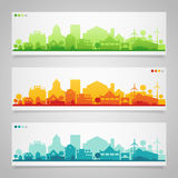 Small town and village silhouettes. Multicolored Royalty Free Stock Photos