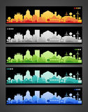 Small town and village silhouettes. Multicolored Stock Photo