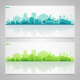 Small town and village silhouettes. Multicolored Royalty Free Stock Photography
