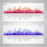Small town and village silhouettes. Multicolored Royalty Free Stock Images