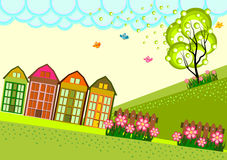 Small Town Village Skyline. Vector full color Royalty Free Stock Image