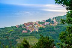 Small town of Volastra, located in the mountains between the towns of Corniglia and Manarola, in Cinque Terre national Park. Picturesque seascape, small stock photography