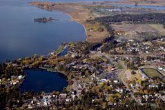 Small town in Western USA. Aerial view of small town in Western USA Royalty Free Stock Image