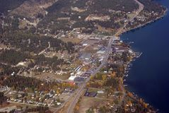 Small town Western USA. Aerial view of a small town in Western USA Royalty Free Stock Images