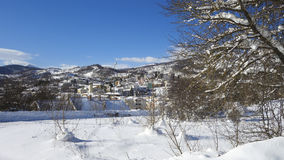 Small town in the winter snow Royalty Free Stock Photos