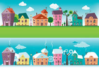 Small towns houses. In wintertime and summer Vector Illustration