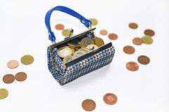 Small toy bad with euro coins. Stock Image