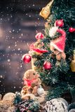 Small toy bears in christmas still life Stock Images