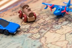 Car, plane and train on map Stock Photo