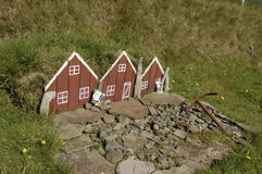 Small toy elf house in Iceland. Royalty Free Stock Images