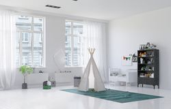 Small toy tepee in a kids playroom Stock Images