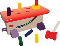 Small toy workshop, with plastic tools Royalty Free Stock Photo