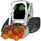 Small tractor load of pumpkins. Illustration depicting a small construction tractor with a full load of pumpkins in its bucket vector illustration