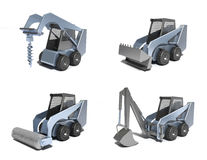 Small tractors . Isolated 3D image vector illustration