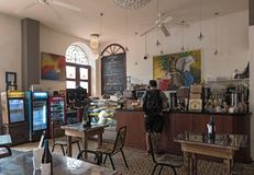 Small traditional cafe in the old town casco viejo panama city royalty free stock images