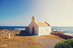 Small Traditional Greek Church on the shore Crete, Greece Royalty Free Stock Photography