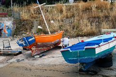 Repainting Wooden Greek Fishing Boat, Galaxidi, Greece Royalty Free Stock Images