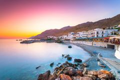 The small traditional village of Chora Sfakion, Sfakia, Chania, Crete. Royalty Free Stock Images