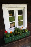 Small traditional window. From cottage Stock Photos