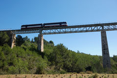 Small train above vineyards. Small diesel train crossing and old railway bridge above vinyards Royalty Free Stock Photos
