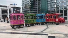 Small train in city stock video