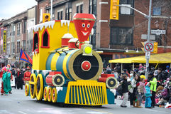 A small train in the Santa Parade Stock Photo