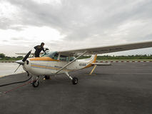 Small training aircraft on the airfield Royalty Free Stock Images
