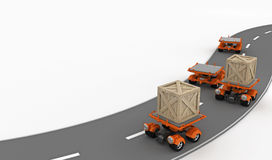 Small Transport, En Route. Small cargo transportation vehicles on road, 3d Stock Images
