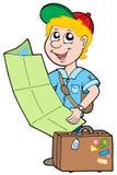 Small traveller. On white background - vector illustration stock illustration