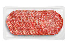 Small Tray Packaged of Presliced Salame Stock Image