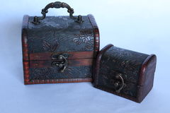 From small treasure chests to wooden pirates retro style. On withe background Royalty Free Stock Image