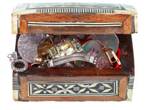 Small treasure wooden chest with jewel Stock Images