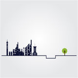 Small tree and the building witch city landscape background. Stock Image