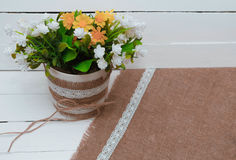 Small tree potted plant on wood shelf decorated interior room with white wall Royalty Free Stock Images