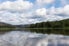 A small tributary of the big siberian river. Krasnoyarsk region, Russia Stock Photos