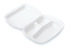 Small triple compartment foam take out food container Stock Image