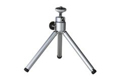 Small tripod. Small aluminium camera tripod isolated against a white background Royalty Free Stock Photography