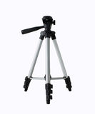 Small tripod. Front of Small tripod camera isolated on white background royalty free stock images