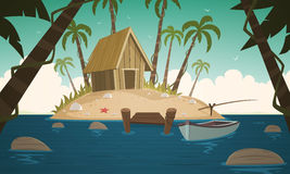 Small Tropical Island. Cartoon illustration of the small tropical island with wooden cabin and pier Stock Photos