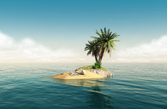 Small tropical island with skeleton. Small tropical island in the middle of the ocean with a small palm tree and a skeleton in the sand Stock Photo