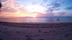 Small tropical island . Sunset. Grandiose sunset . Gili Trawangan island stock video