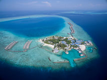Small tropical island. View from drone. Maldives Royalty Free Stock Image