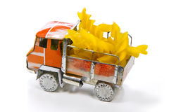 Small truck with a cargo of italian pasta Stock Image