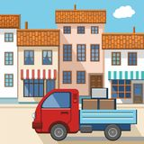 A small truck in the city. Stock Images