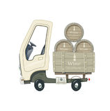 Small Truck for delivery wine barrel. Lorry with wooden cask. Cartoon auto. Transport. Isolated white background. Vector illustration stock illustration