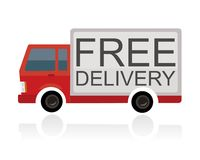 Small truck with free delivery text on trailer Royalty Free Stock Photography