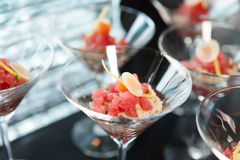 Small tuna snack in cocktail glass Stock Photos