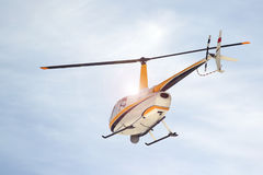 Small turbine helicopter in flight Royalty Free Stock Images