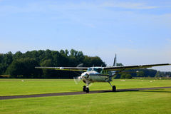 Small turboprop plane. After landing Stock Image