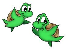 Small turtles. Color illustration of two small turtles vector illustration